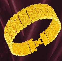 Plate Dragons Gold Australia - New plated 18k yellow gold bracelet men's dragon gold plated bracelet Valentine's Day gift rough faucet tank bracelet large plated gold 7-12
