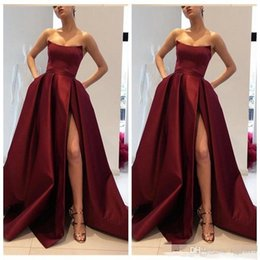 Wholesale 2019 New Sexy High Split Prom Dresses Party Wear Pleated Satin Custom Formal Evening Gowns Cheap Sale Vestidos robes de soirée