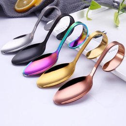 Black ice cream online shopping - 5 Colors Creative Stainless Steel Shell Coffee Spoon Ice Cream Spoon Colorful Curved Handle Spoon Kitchen Accessories CCA11062