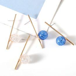 $enCountryForm.capitalKeyWord Australia - Hot Fashion Jewelry Women's Simple Long Stick Grain Crystal Magic Ball Stud Earrings Lady Crackle Bead Earrings S363