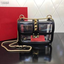 Best White Bags Australia - Best selling designer handbag shoulder bag for female with rivets purses high quality ladies shoulder bags free shipping clear