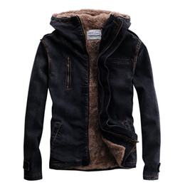 fur lined denim jacket UK - TANG 2019 For MaleWinter Denim Jacket Hooded Fur Lined Black Motorcycle Biker Style Designer Fleece Thicken Warm Jean Coat