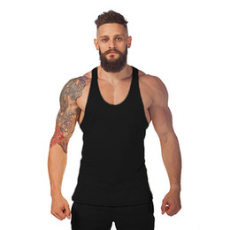 men plain vest Australia - New Summer Plain Cotton Gym Stringer Men Muscle Bodybuilding Sleeveless T Shirt Training Tank Top Singlets Fitness Sport Vest