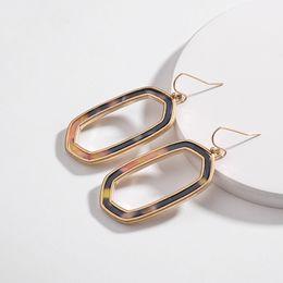 Leopard Print Plates Australia - Kendra Luxury Designer Acrylic Acetate Hollow Hexagon Frame Earrings Leopard Print Gold Fashion Women Party Jewelry