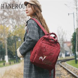 Discount cute black hand bags - HANEROU Cute Embroidery Deer Nylon Backpack College Wind Simple Art High School Student Shoulder Bag Women's Hand T