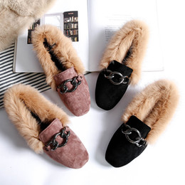 5a368376e31 Metal chain velvet flats loafers women winter furry comfortable creepers  big size 34-43 slip on espadrilles mujer warm shoes