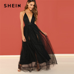 0381ec24f8 SHEIN Black Night Out Plunging Neck Deep V Neck Crisscross Back Cami  Sleeveless Backless Dress Women 2018 Summer Sexy Dresses Y19042303