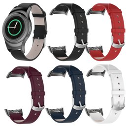 Discount samsung clock - watchband clock Leather Watch Band Straps For Samsung Gear S2 SM-R720   SM-R730 with Adapter montre watch strap relogio
