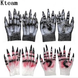Back Hair Men Australia - Cosplay Latex Rubber Wolf Head Hair Mask Gloves, Unisex Novelty Animal Full Mask Halloween Role Play Fancy Dress Party Costume