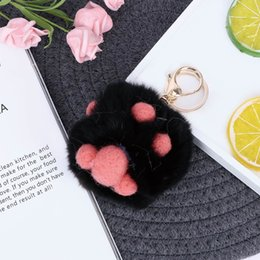 female movie characters costumes UK - Cat's Claw Paw Key Chain Fluffy Fur Pom Pom Pendant Keychains Female Bag Pendant Pompom Key Chains Car Keyring Trinkets