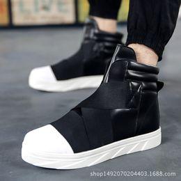 $enCountryForm.capitalKeyWord Australia - 1Soft Leather Gz Punk Hip Hop Shoes Men White Solid Dance Platform Flats Fashion Lace Increased Man High Top Zapatillas Hombre
