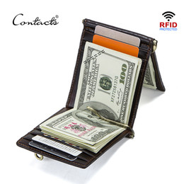 $enCountryForm.capitalKeyWord NZ - Contact's Crazy Horse Cowhide Leather Rfid Money Clip Slim Card Wallet Trifold Male Cash Clamp Man Cash Holder Zip Coin Pocket Y19052202