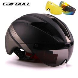 Magnetic bicycle online shopping - CAIRBULL Magnetic Goggles Cycling Helmet MTB Road Racing Bike Helmet Removable Lens Integrated Molded Bicycle Lens