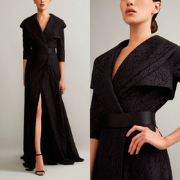$enCountryForm.capitalKeyWord Australia - Ashi Studio 2019 Black Split Slit Prom Dresses V Neck 3 4 Long Sleeve Lace Evening Gowns A Line Women Formal Party Dress