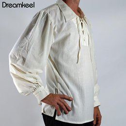 Shirts Stand Up Collars Australia - Men Medieval Renaissance Viking Cosplay Costume Top Tunic Tudor Lacing Up Stand Collar Bandage Black White Shirt 2019 NEW Y