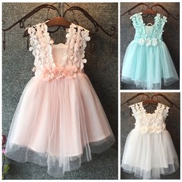 mint tutu Australia - Kids girl dress 2020 Baby flower Princess Lace Tulle Tutu Backless Gown Formal Party Dress Mint Pink White 2-7Y