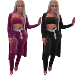 China 2019 Spring Autumn Newest Women Casual Tracksuits Velvet Three Pieces Long Sleeves Coat Short Top and Long Pants Outfits High Quality cheap high quality yoga pants suppliers