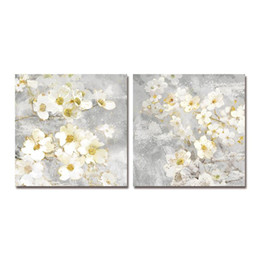 Wholesale DYC 10059 2PCS White Flowers Print Art Ready to Hang Paintings