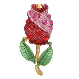Vintage Rose Pin UK - 2018 Fashion Flower Brooch Pin for Party Cute Rose Rhinestone Pins and Brooches for Women New Enamel Vintage Brooches Badge for Clothes