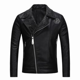 sequin strips Australia - 2019 Youth Leather Jacket Men Leather Men's Lapel Locomotive Biker Slim Slim Fit Leather Korean Lace Jacket Asian Size M-3XL