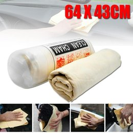 $enCountryForm.capitalKeyWord Australia - Wholesale- New 64*43cm Natural Chamois Leather Car Cleaning Cloth Washing Suede Towel No Scratches Drying Cleaning Towel Car Washing