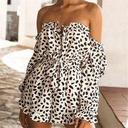 Women Jumpsuit Romper Playsuit Australia - Women Boho Off-shoulder Holiday Mini Playsuit 2019 Summer Beach Jumpsuit Playsuit Leopard Printed Party Evening Summer Romper
