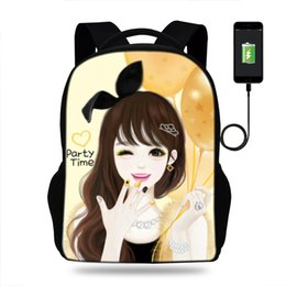 $enCountryForm.capitalKeyWord NZ - 16inch Cartoon Korean Girls Printing Backpack Cute Popular Children Book Bag USB Charge Backpack School Bags for Teenagers girls