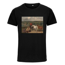 white horse oils NZ - Horse Riding Country Road Oil Painting Women Men's T-shirt Short Sleeve Tops Tee