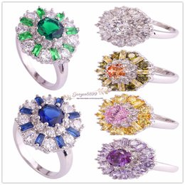 PurPle amethyst white gold ring online shopping - 2019 hot sell cheap Fashion Purple Round Cut Amethyst Tourmaline Gemstone K White Gold Plated Ring Size in stock
