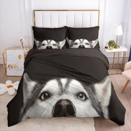 twin size bedding sets dogs 2021 - Yi Chu Xin 3D Pet dogs Quilt Cover and Pillowcase black comforter Bedding Set animal Duvet Cover Set full size bed cheap