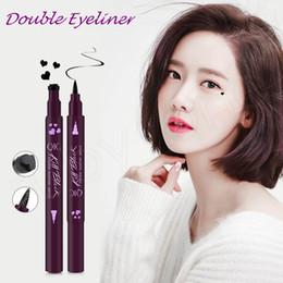 Long Lasting fLowers online shopping - Double head Black Liquid Eyeliner Pencil Waterproof Freestyle Star Heart Moon Flower Cute Stamp Eye Liner HHA216