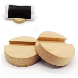Discount mobile stand wood - Beech Wood Round Phone Stand Holder For iPhone 8 8 Plus Mobile Phone Stand Universal Wooden Stand Holder For iPhone X XS