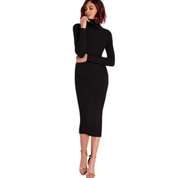 midi sweater UK - Fashion explosion Spring and Autumn New Korean Edition Slim Knitted Dress Medium-long Sleeve Bottom Sweater Skirt 2019