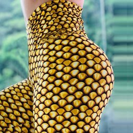 seven leggings Australia - 2019 New Fashion Gold Scales 3d Printing Pattern Female High Waist Fitness Slim Stretch Seven Points Warm Leggings High Quality