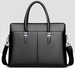 310ae116b172 2018 NEW Famous Brand Designer Briefcase Simple Mens Leather Briefcase  Solid Large Business Man Bag Laptop Bag Messenger Bag for Men
