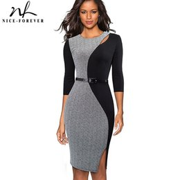 e0c3324b989 Nice-forever Vintage Contrast Color Patchwork Wear To Work Vestidos O Neck  Party Bodycon Office Business Women Dress B478 J190509