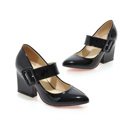 Red Heeled Shoes White Australia - Fashion Women Pumps Sexy Mary Jane Chunky High Heel Shoes Pointy Toe Leather Pumps black white red
