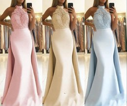 holiday evening gowns floor length Australia - Mermaid Halter Neck Prom Dress 2019 Cheap Appliques Top Red Carpet Holidays Graduation Wear Evening Party Gown Custom Made Plus Size