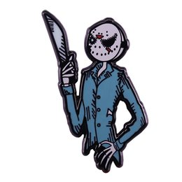 figure nightmare NZ - Nightmare before Christmas Jack Skellington lapel pin Friday the 13th Jason mask brooch cool great mash-up design