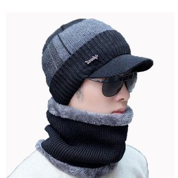 bb6118c0cf885 Men Winter Hat And Scarf Set For Women Male Ring Scarves Cap With Brim  Knitted Visor Beanies Balaclava Adult Warm 2 Pcs Set