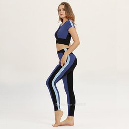 women s yoga clothes Australia - cloth Women Tracksuit Solid Yoga Set Patchwork Running Fitness Jogging T-shirt Leggings Sports Suit Gym Sportswear Workout Clothes S-L