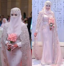 red cape wedding gown 2020 - Light Pink Muslim Mermaid Wedding Dresses With Cape Long Sleeve Lace Top Chiffon Applique Beads Chapel Garden Bridal Gow