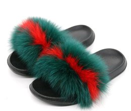 China Women Furry Slippers Ladies Cute Plush Real Fox Fur Fluffy Slippers Women's Fur Winter Warm Slippers for Women Hot cheap flat slippers for ladies suppliers