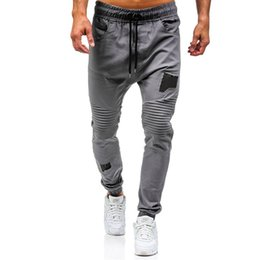 knee fold pants Canada - 2020 New Fashion Men's Knee Fold Sweatpants Casual Pants Men Drawstring Jogger Pants Solid Leisure Male Sweatpants Jogger