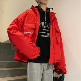 $enCountryForm.capitalKeyWord Australia - 2018 Winter Jacket Men's New Products New Korean Letter Printing Casual Simple Stand Collar Cotton Jacket Black Red M-2XL
