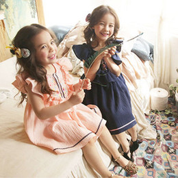 Kid dresses Korea online shopping - Kids Dress Girls Clothes Korea Dress Fly Sleeve with Ruffle Embroidered Dresses Summer Children Boutique Clothing Dresses