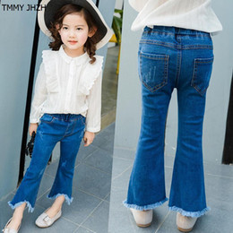 Korean Girls Dressing Style Winter Australia - Children's dress in 2019 new Korean version of the girl in the flares, children's jeans and clothes for girls nine-point pants.