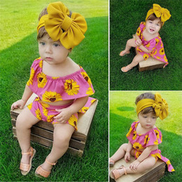 red roses baby dress UK - 1-5T Sunflower Girls Summer Dress Cute Kids Baby Girl Floral Top Tees Shorts Maxi Dress 2PCS Outfits Rose Red