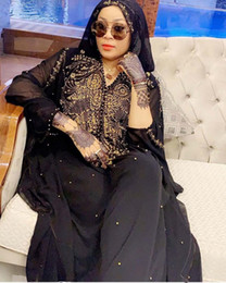 Wholesale hooded capes for women online – ideas Plus Size African Dresses for Women Dashiki Diamond Beads African Clothes Abaya Dubai Robe Evening Long Muslim Dress Hooded Cape