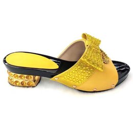 Women Silver Shoes Kitten Heel Australia - Most popular yellow rhinestone women shoes with big crystal decoration african bowtie style shoes for dress V530-1,heel 5.5CM